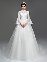 A-line Wedding Dress - Chic & Modern Chapel Train High Neck Organza with Sequin Appliques Beading Flower
