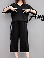 Women's Going out Casual/Daily Simple Blouse Pant Suits,Solid V Neck 1/2 Length Sleeve