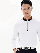 Homme Manches longues Golf T-shirt POLO Respirable Anti-transpiration Confortable Blanc Orange Bleu Golf Sport de détente