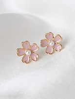 Stud Earrings Fashion Alloy Flower Pink Jewelry For Daily 1 Pair