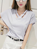 Women's Casual/Daily Cute Spring Summer T-shirt,Solid V Neck Short Sleeve Polyester Medium
