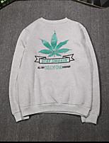 Men's Plus Size Casual/Daily Simple Sweatshirt Solid Print Oversized Round Neck Fleece Lining Micro-elastic Cotton