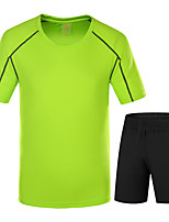 LEIBINDI®Men's Short Sleeve Running Jersey  Shorts Breathable Quick Dry Wearable Comfortable Summer Sports WearClimbing Exercise & Fitness
