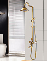 Antique Traditional Art Deco/Retro Tub And Shower Rain Shower Widespread Handshower Included with  Ceramic Valve Three Handles Two Holes Shower Faucet