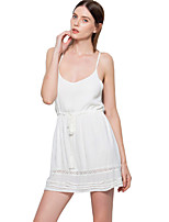 ANGELL Women's Going out Casual/Daily Holiday Simple Cute Street chic A Line DressSolid Strap Mini Sleeveless Cotton Polyester Spring SummerMid