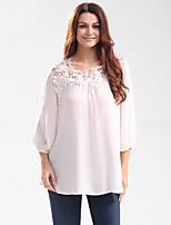 Women's Casual/Daily Beach Holiday Simple Cute Shirt,Embroidered Round Neck ¾ Sleeve Polyester