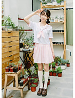 Women's Going out Casual/Daily Simple Cute T-shirt Skirt Suits,Solid Round Neck