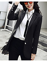 Women's Casual/Daily Simple Spring Blazer,Solid Notch Lapel Long Sleeve Long Polyester