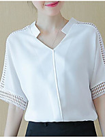 Women's Going out Simple Blouse,Solid Stand Short Sleeve Polyester