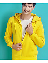 Men's Casual/Daily Hoodie Solid Round Neck Micro-elastic Cotton