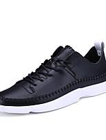 Белый Черный-Для мужчин-Для прогулок Повседневный Для занятий спортом-Дерматин-На плоской подошве-Удобная обувь-Кеды