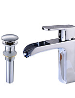 Contemporary Centerset Waterfall Widespread Pre Rinse with  Ceramic Valve Single Handle One Hole for  Chrome , Bathroom Sink Faucet