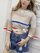 Women's Casual/Daily Simple Spring Summer T-shirt,Striped Color Block Round Neck Short Sleeve Polyester Medium
