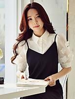 Для женщин На выход Офис Лето Рубашка Рубашечный воротник,Простое Уличный стиль Изысканный Однотонный Пэчворк С короткими рукавами,