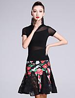 Latin Dance Outfits Women's Performance Milk Fiber Pattern/Print 2 Pieces Short Sleeve Natural Top Skirt