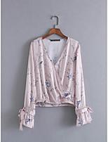 Для женщин Праздник Лето Блуза V-образный вырез,Винтаж Цветочный принт Длинный рукав,Искусственный шёлк,Средняя