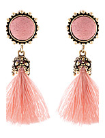 Lureme Women's Vintage Handcrafted Velvet Ball Tassel Earrings