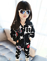 Girl's Going out Casual/Daily Sports Print Patchwork Sets Cotton Spring/Fall Long Sleeve Coat Pants Clothing Set Children's Garments