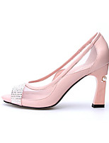 Women's Heels Spring Comfort Leather Casual Screen Color Blushing Pink White