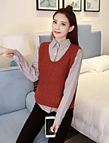 Women's Casual/Daily Simple Blouse,Striped Shirt Collar Long Sleeve Polyester Thin