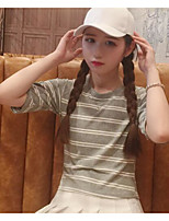 Women's Casual/Daily Cute T-shirt,Striped Round Neck Short Sleeve Cotton