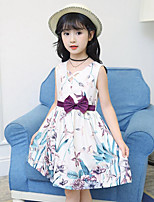 Girl's Casual/Daily Beach Holiday Floral Dress,Cotton Summer Sleeveless
