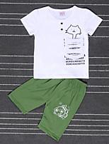 Мальчики Наборы На выход На каждый день Для школы Хлопок С принтом Лето С короткими рукавами Набор одежды