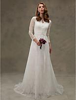 LAN TING BRIDE Linha A Vestido de casamento - Elegante e Luxuoso Pretíssimos Cauda Corte Decorado com Bijuteria Renda comCom Apliques