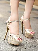 Золотой Серебряный-Для женщин-Повседневный-Полиуретан-На толстом каблуке На шпильке-Босоножки-Обувь на каблуках