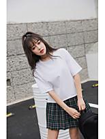 Tee-shirt Femme,Couleur Pleine Sortie Décontracté / Quotidien Sportif simple Mignon Eté ½ Manches Col Arrondi Coton Rayonne Fin