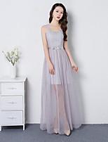 Po kotníky Popruhy Šaty pro družičky - Různorodé šaty Elegantní Bez rukávů Satén Tyl