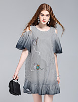 Women's Going out Casual/Daily Cute Street chic Sophisticated A Line Shirt Dress,Striped Round Neck Above Knee Short Sleeve Cotton Summer