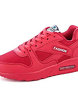 Women's Athletic Shoes Comfort Synthetic Tulle Spring Fall Casual Walking Comfort Split Joint Flat Heel White Fuchsia Ruby Blushing Pink
