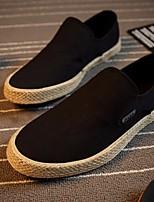 Белый Черный Синий-Для мужчин-Повседневный-ПолотноУдобная обувь-Кеды