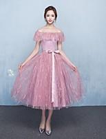 מסיבת קוקטייל שמלה - אלגנטי גזרת A מתחת לכתפיים באורך הקרסול טול עם פפיון(ים)