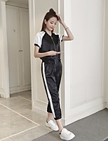 Women's Going out Simple Shirt Pant Suits,Solid Deep V