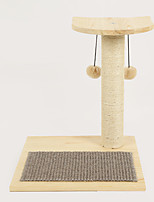 Cat Toy Pet Toys Interactive Scratch Pad Durable Wood Beige