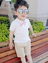 Мальчики Наборы На каждый день Хлопок Однотонный Полоски С принтом Лето С короткими рукавами Набор одежды