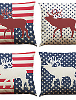 Set of 4 Elk Flag Pattern  Linen Pillowcase Sofa Home Decor Cushion Cover