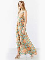 Damen Hülle Chiffon Kleid-Ausgehen Lässig/Alltäglich Urlaub Retro Niedlich Street Schick Blumen V-Ausschnitt Maxi Ärmellos Polyester