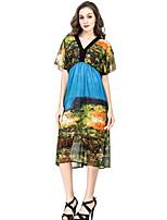 Women's Plus Size Vintage Chiffon Dress,Print Deep V Midi Short Sleeve Polyester Summer Fall High Rise Micro-elastic Medium
