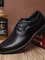 Черный Желтый Коричневый-Для мужчин-Повседневный-ПолиуретанУдобная обувь-Туфли на шнуровке