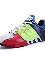 Men's Athletic Shoes Comfort PU Spring Fall Casual Outdoor Comfort Lace-up Flat Heel Gray Black/White Rainbow Under 1in