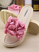 Feminino-Chinelos e flip-flops-Chanel-Rasteiro-Branco Vermelho Rosa claro-Borracha-Casual