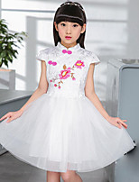 Girl's Casual/Daily Holiday Solid Floral Embroidered Dress,Cotton Polyester Summer Short Sleeve