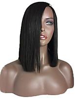 Черный цвет боб кружева перед парики человеческих волос прямой 100% бразильский виргинские волосы glueless боб парики для черной женщины