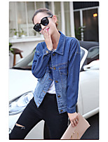 Women's Casual/Daily Simple Spring Denim Jacket,Solid Round Neck Regular PU