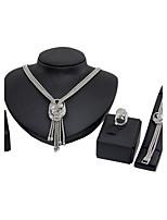 Set de Bijoux Mode euroaméricains Classique Strass Bijoux Argent 1 Collier 1 Paire de Boucles d'Oreille 1 Bracelet Anneaux PourMariage