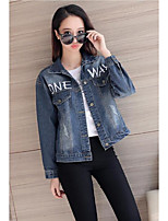 Women's Going out Casual/Daily Vintage Simple Spring Fall Denim Jacket,Letter Shirt Collar Long Sleeve Regular Cotton