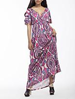 Для женщин На выход Пляж Большие размеры Секси Винтаж Богемный Оболочка Платье С принтом Контрастных цветов,Глубокий V-образный вырез